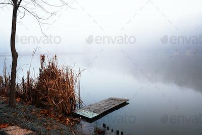 Pier on winter foggy lake