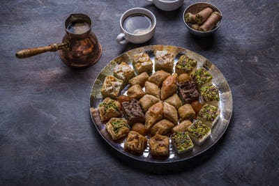 Traditional eastern sweets - baklava and delights with coffee