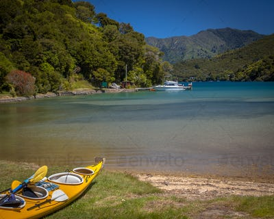 Kayak on the shore in Marlborough sounds