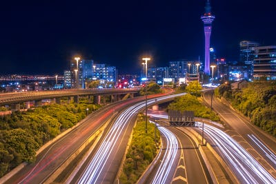 Motorway with Night traffic in Auckland city New Zealand
