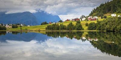 Panorama landscape of Nordic village in Norwegian fjord