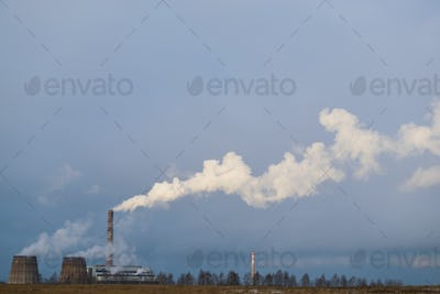 Industrial landscape. Power industry. Termal Power Plant