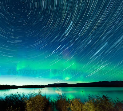 Startrails Northern Lights display Lake Laberge