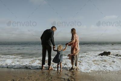 Happy family at a beach