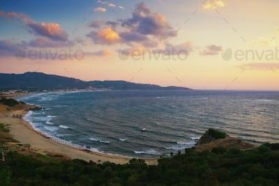 Sunset beach in Greece
