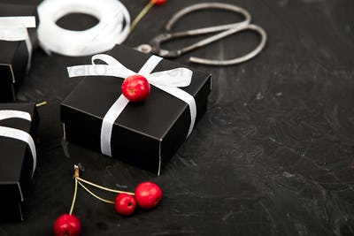 Wrapping modern Christmas or Birthday gifts presents