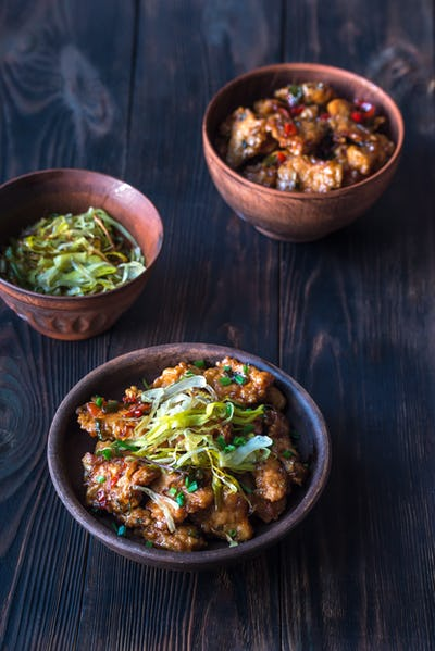Asian chicken in a sweet and sour sauce