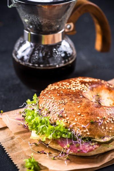 Fresh healthy bagel, take way brunch idea