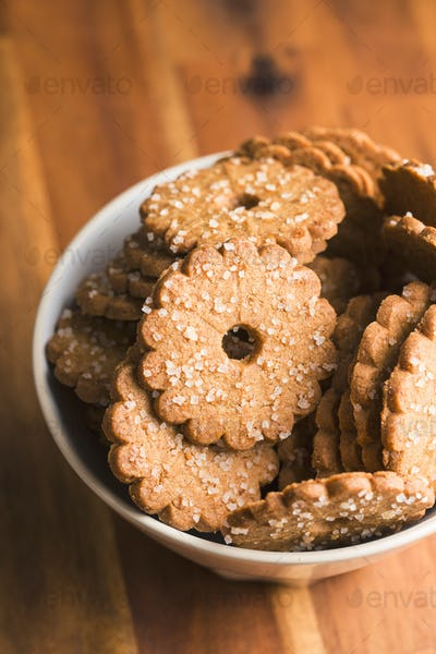Christmas biscuits with sugar crystals.