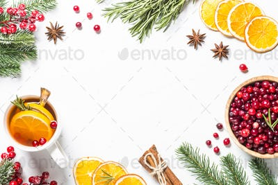 Christmas food or drink background on white flatlay
