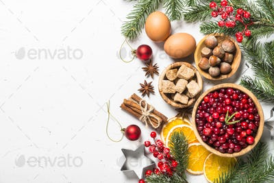 Christmas food baking background top view on white background