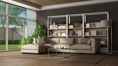 Brown living room with sofa and bookase