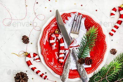 Christmas table place setting, Holiday background
