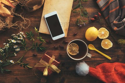 Smartphone mock up with Christmas and New Year decoration