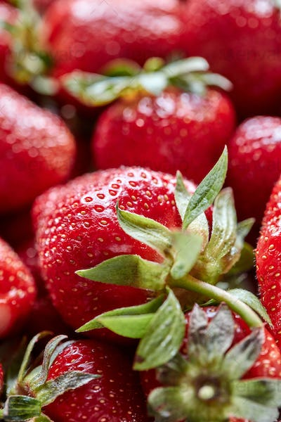 Closeup of red berries of organic strawberry with green leaves. Healthy Diet Food