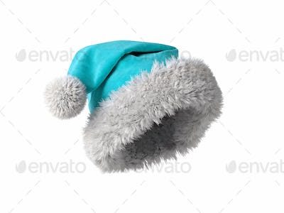 Santa Claus blue hat isolated on white background 3D rendering
