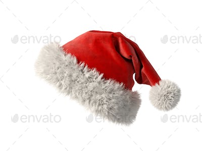 Santa Claus red hat isolated on white background 3D rendering
