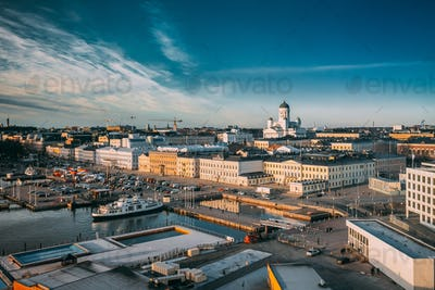 Helsinki, Finland. Top View Of Market Square, Street With Presid