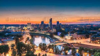Vilnius, Lithuania, Europe. Summer Cityscape, Modern Office Buil