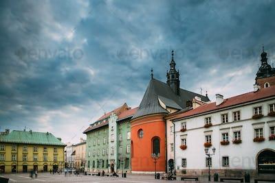 Krakow, Poland. Church Of St. Barbara On Small Market Square In