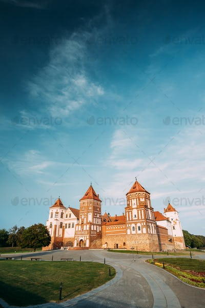 Mir, Belarus. Walkway To Castle Complex In  Sunny Summer Day. Ar
