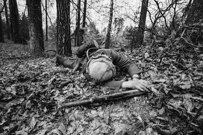German Wehrmacht Infantry Soldier In World War II Soldier Lying