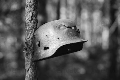 Damaged By Bullets And Shrapnel Metal Helmet Of German Infantry