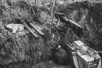 German Military Ammunition Of World War II On Ground. Rifle, Gre