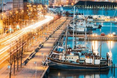 Helsinki, Finland. View Of Pohjoisranta Street And Ships, Boats
