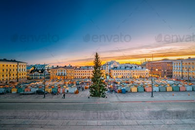 Helsinki, Finland. Christmas Xmas Market With Christmas Tree On