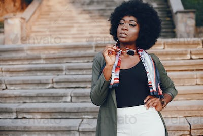 African girl in a summer city