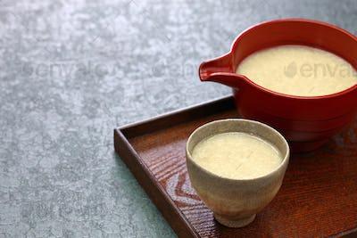 homemade Amazake, Japanese traditional sweet drink made from rice koji.