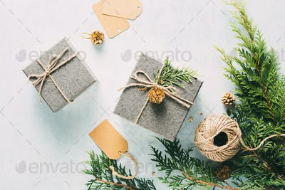Gift boxes on a blue background
