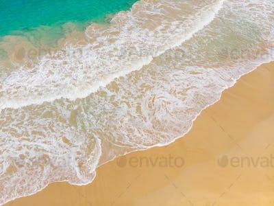 Aerial View of Wave Breaking