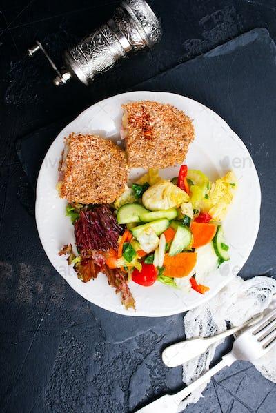 homemade meat cutlet cordon bleu