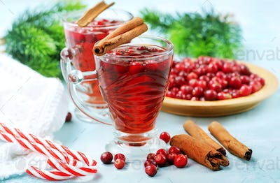 cranberry drink and berries
