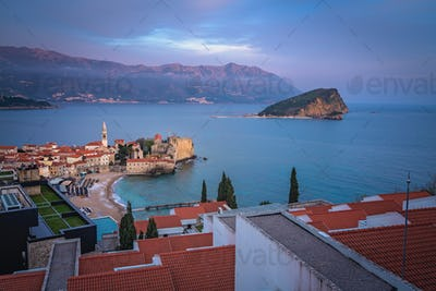 Evening panorama of  Budva in Montenegro