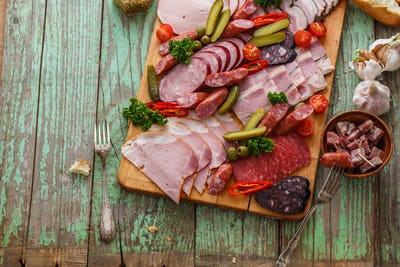 Charcuterie board close view with place for wording