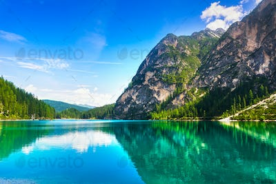 Braies or Prags lake and Dolomites mountains. Trentino Alto Adig