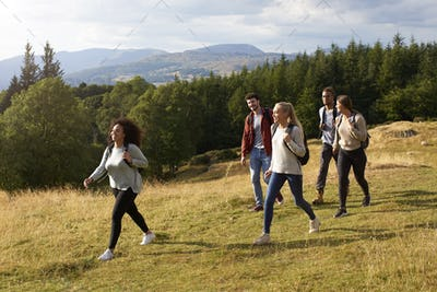 A multi ethnic group of five young adult friends smile while walking