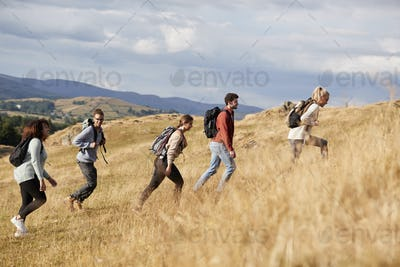 Multi ethnic group of happy young adult friends climbing a hill during a mountain hike, side view