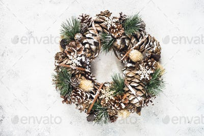 Christmas wreath on white top view