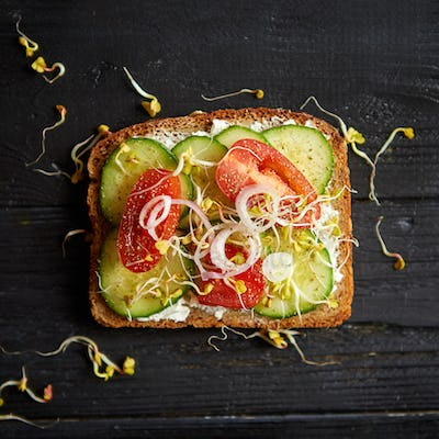 Top view of Healthy vegetable toast