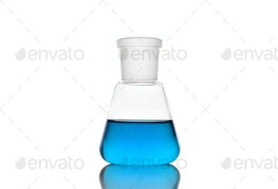 Erlenmeyer flask with blue liquid on white background