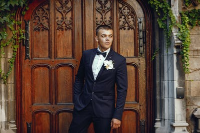 Groom in a park