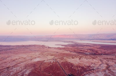 flyover of the desert by the dead sea