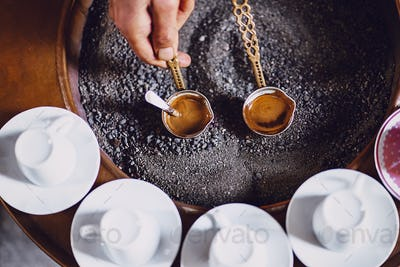 morning with turkish coffee brewing