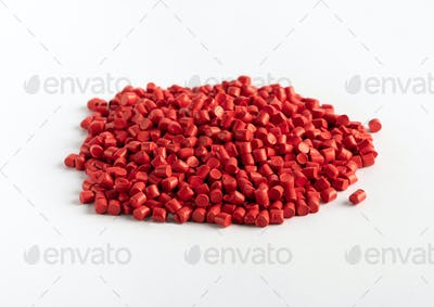Pile of red plastic granules