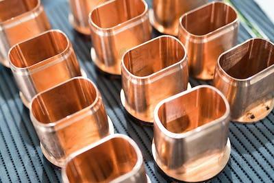 Copper tube metal scrap parts background