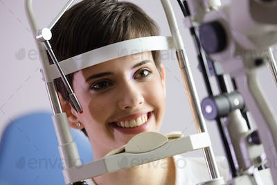 Checking eyesight in a clinic. Ophthalmology. Medicine and health concept